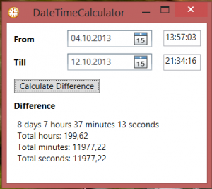 Calculate difference between two events